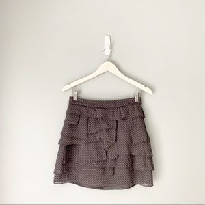Club Monaco silk ruffle gray floral skirt